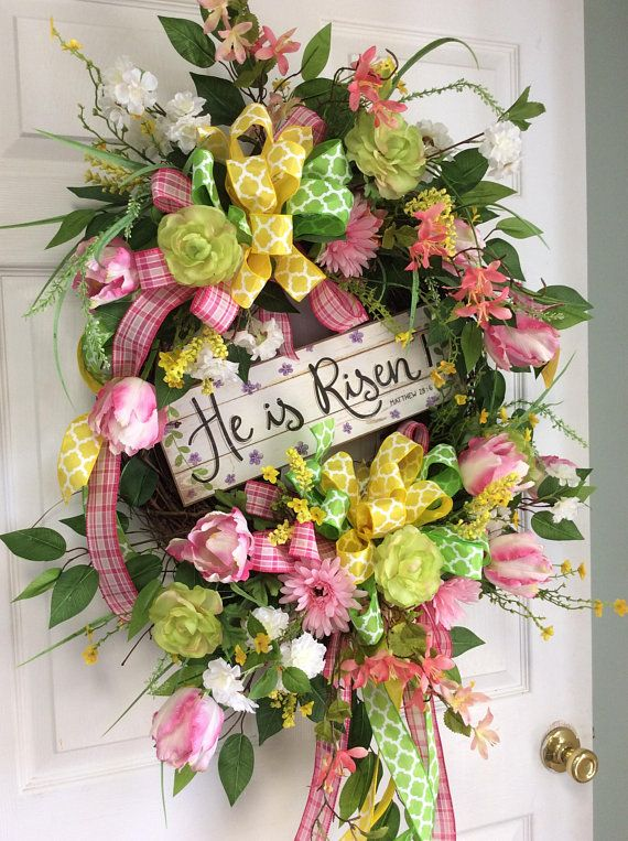 Spring Easter Wreath, He is Risen wreath, wreath for Easter, Front ...