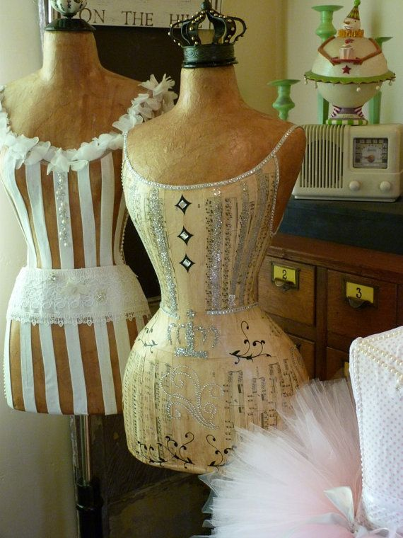Vintage Inspired Wasp Waist Mannequin Dress Form Glitter Crystal Bling Full Size Romantic FREE SHIP LAYAWAY