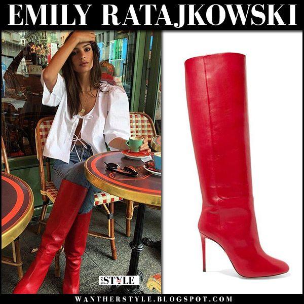 emily ratajkowski in red leather knee