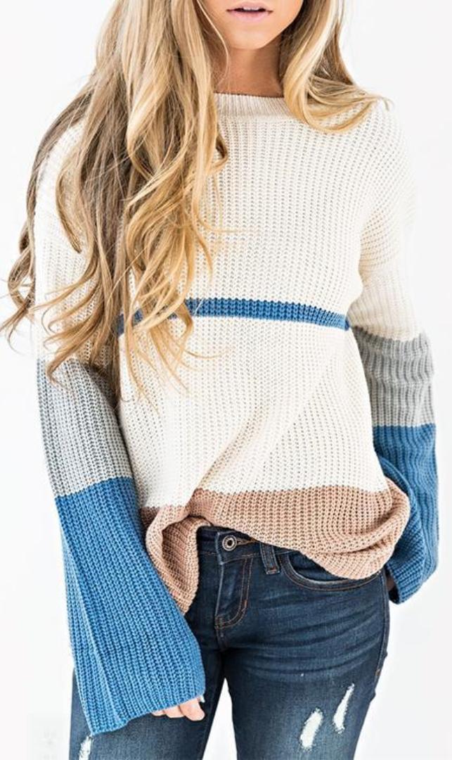 bae07b2018 Color Block Drop Shoulder Oversized Sweater