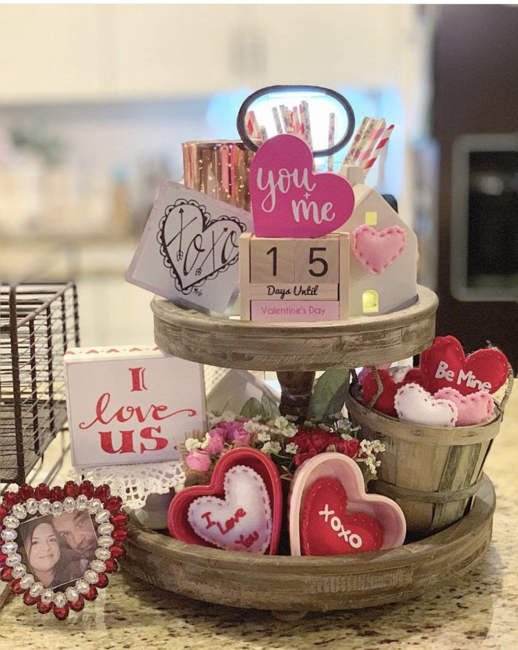 Valentines Decor Using Tiered Trays, Farmhouse Signs and Rae Dunn #tieredtraydecor