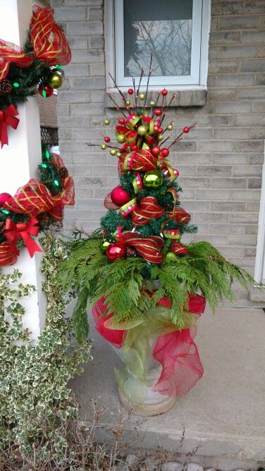 DIY Outdoor decor Christmas Urn Christmas Joy Pinterest