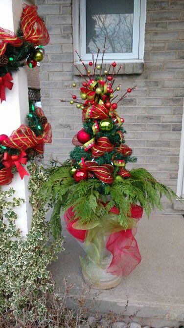 DIY Outdoor decor Christmas Urn Christmas Joy Pinterest