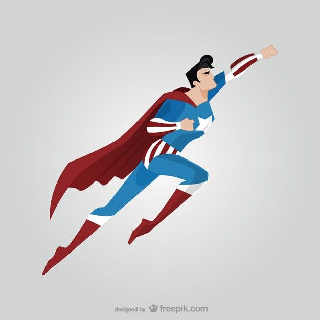 Side view of flying superhero Free Vector | design ...