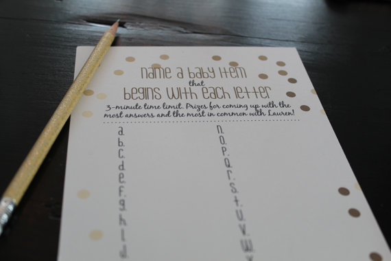 Printable baby shower game - name a baby item for each letter of the alphabet - gold confetti