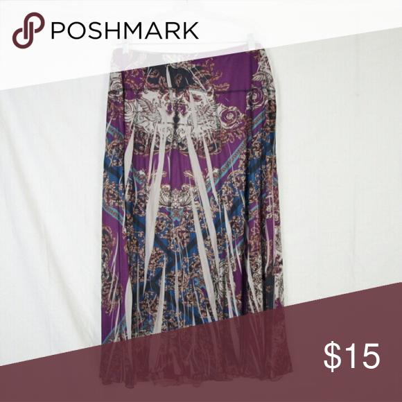 Plus Size Printed Maxi Skirt 3X Nwt Fully Lined Elastic Waist