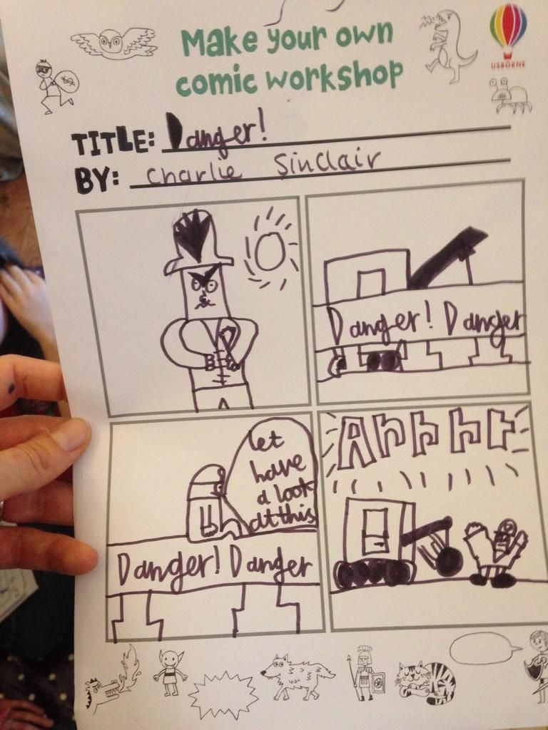 awesome comics made by children at our workshop event at tales on