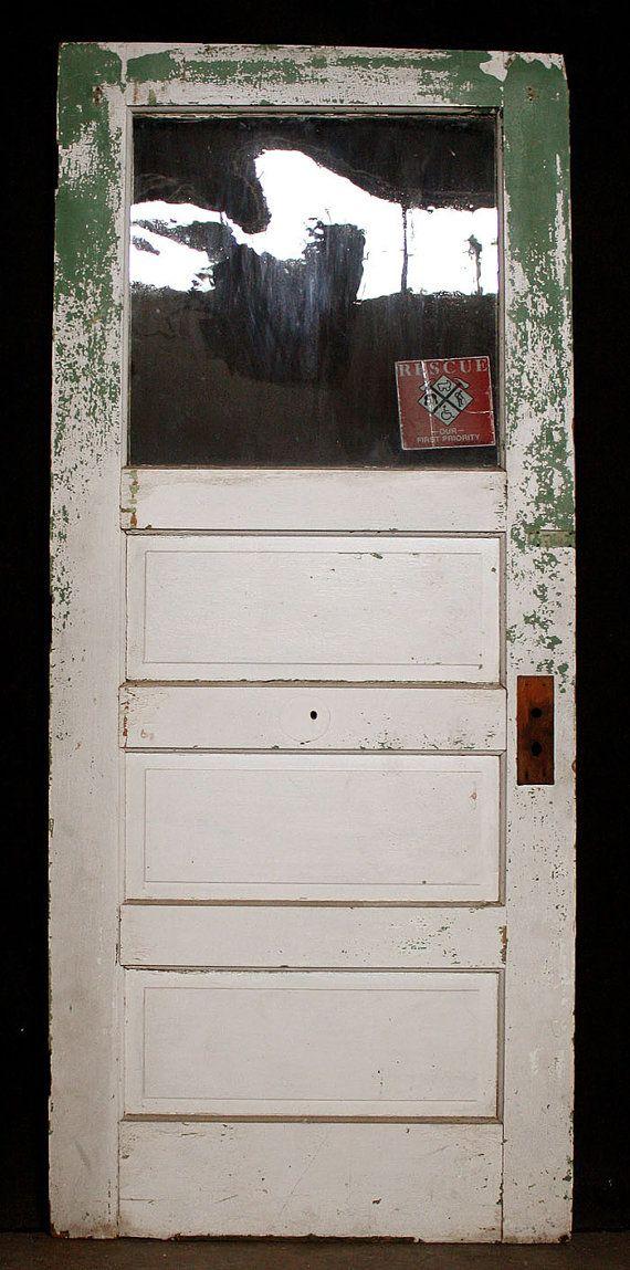 32x78 Antique Victorian Pine Exterior Entry Door Half Wavy Glass