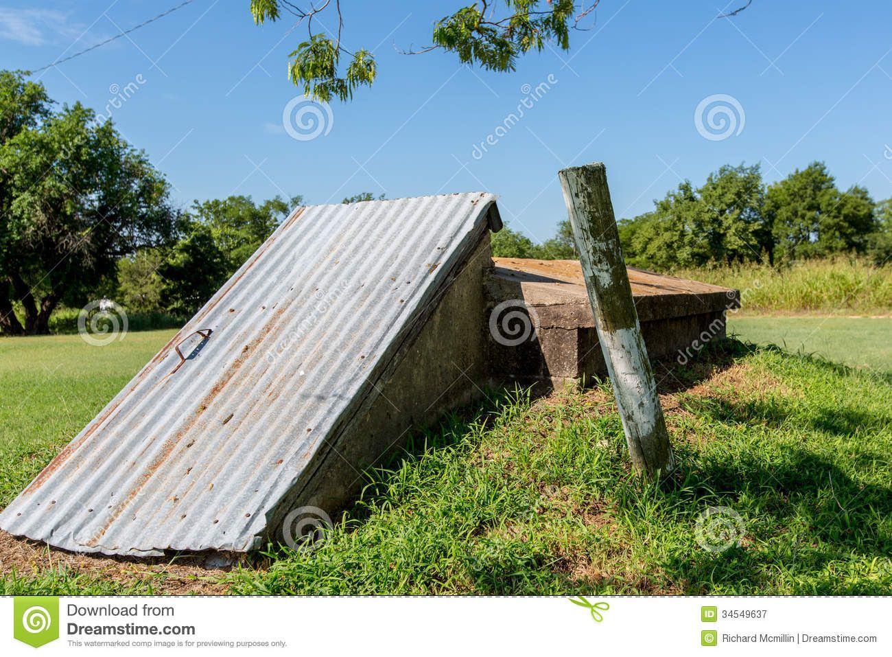 An old storm cellar or tornado shelter in rural oklahoma