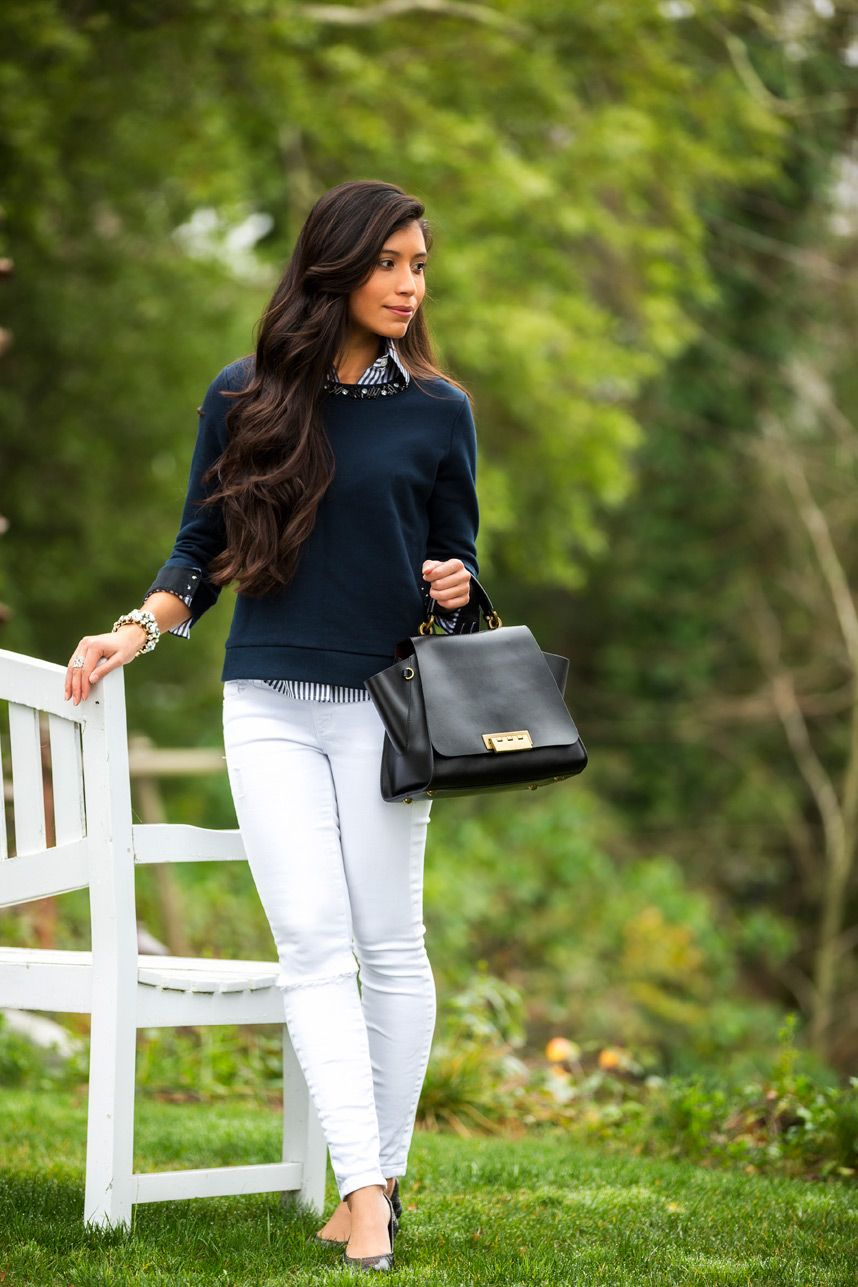 00ddff59e3be What to Wear with White Pants - Visit Stylishlyme.com to read some tips on wearing  white jeans in the winter