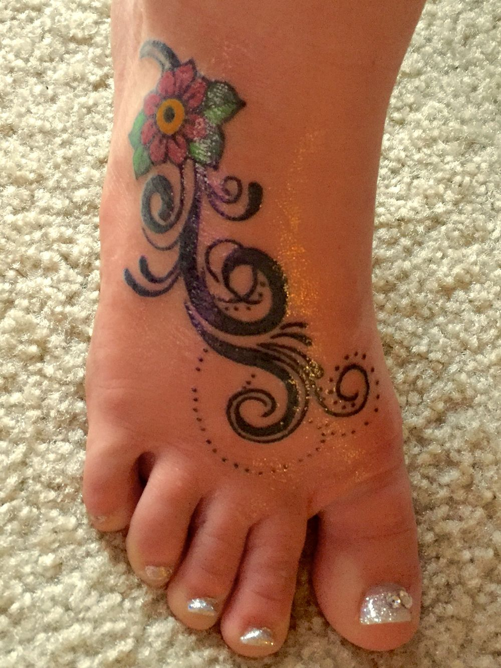 My new stunning and glamorous custom foot tattoo tattoo designs
