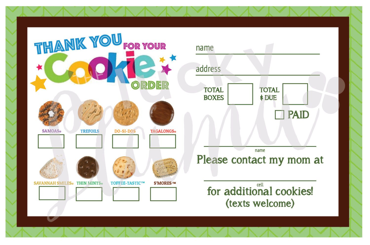 2017 Girl Scout Cookie Thank Youorder Formreceipt Printable By