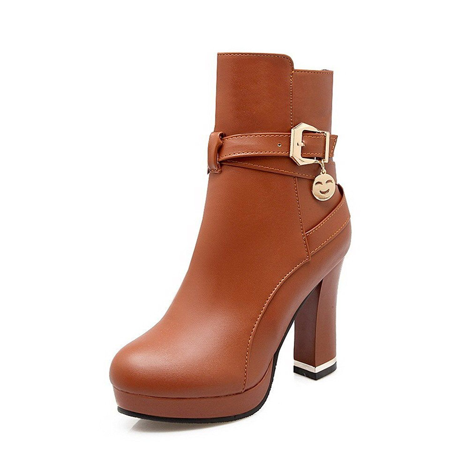 Women's Solid Pu High Heels Buckle Round Closed Toe Boots