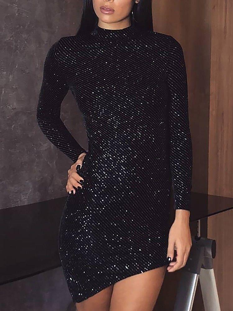 31339a699e2fc7 Shiny Long Sleeve Irregular Bodycon Dress long dress for short girl