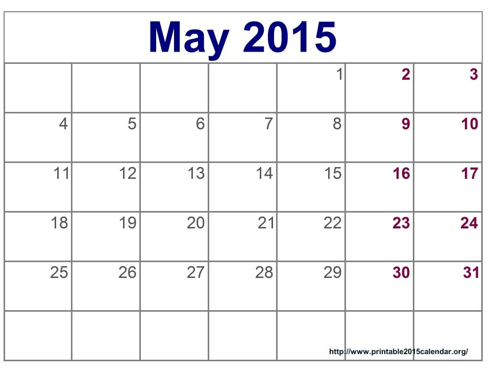 May 2015 Calendar Printable Pdf, Template, Excel, Doc Download - blank calendar pdf