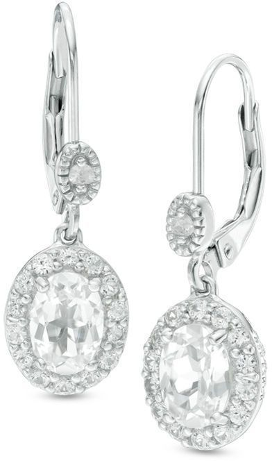 Zales Oval Lab-Created Blue Quartz and White Sapphire Duo Stud Earrings in Sterling Silver gtSjX28cj