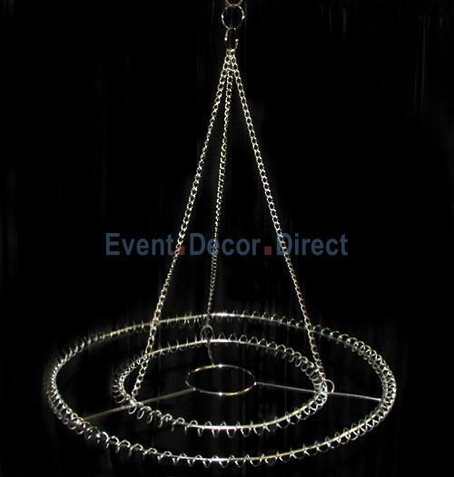 Large 2 Ring Round Chandelier Frame Chrome Finish