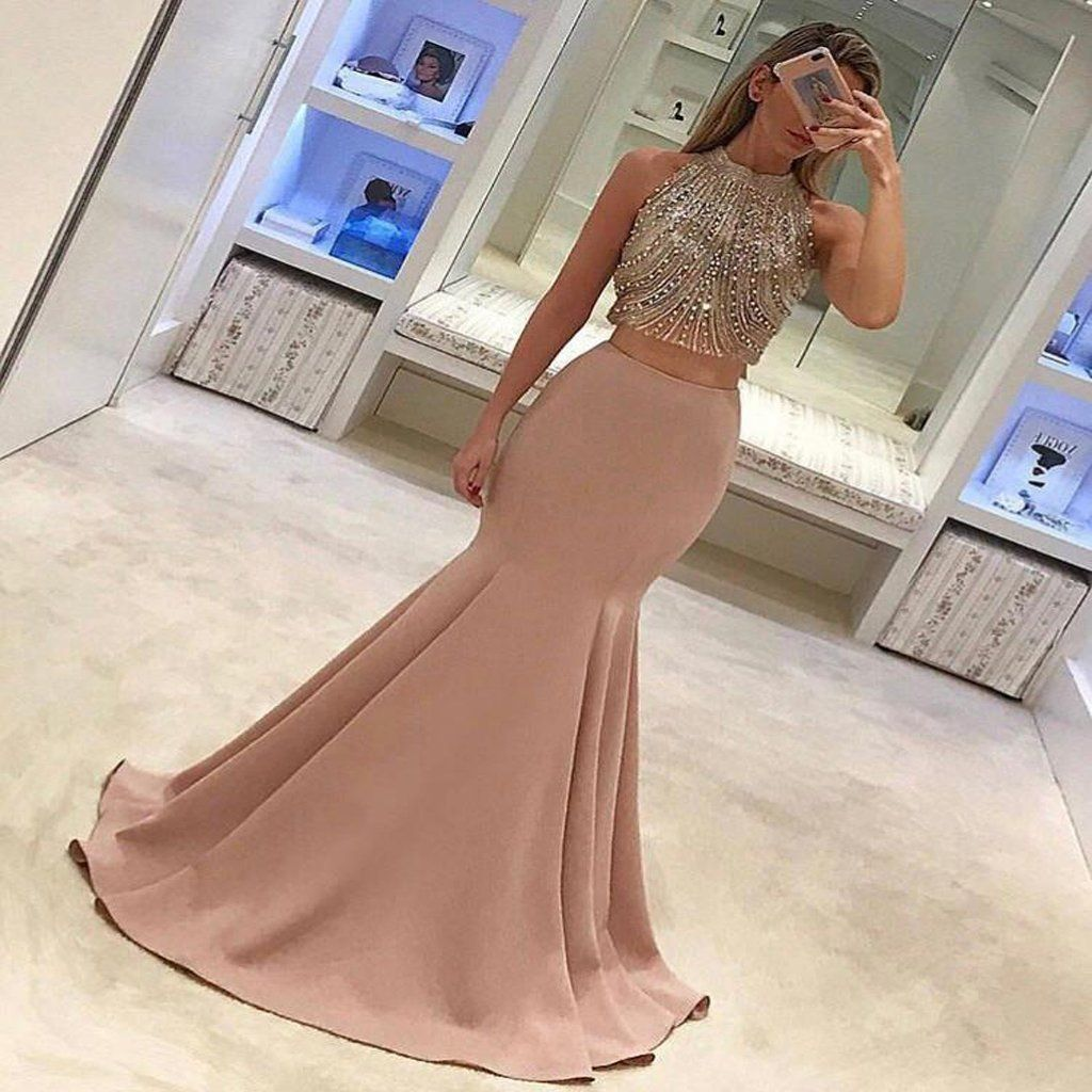Gorgeous twopiece mermaid prom dresses pink beads sleeveless long