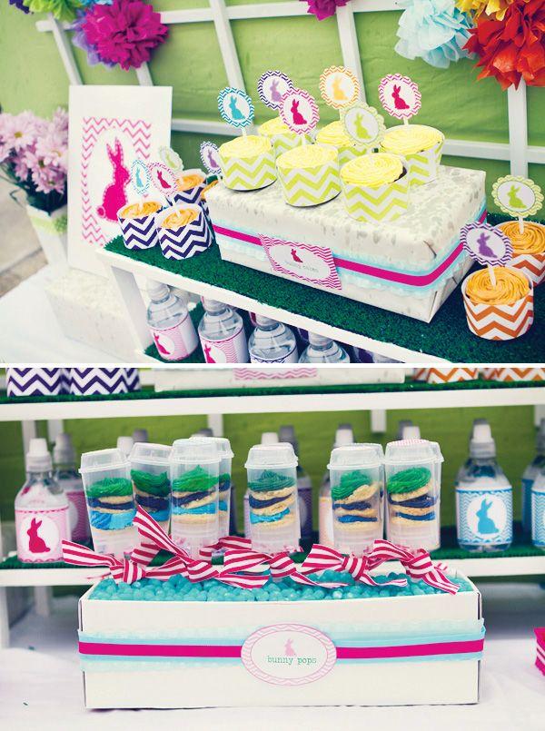 Easter Bunny Chevron Birthday Party Dessert Table Birthday Party Desserts Easter Birthday Party Bunny Birthday Party