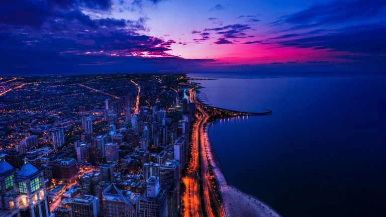 Fondos De Pantalla Para Pc Hd 1920x1080 4k In 2020 Sunset Wallpaper Chicago Wallpaper Chicago Cityscape