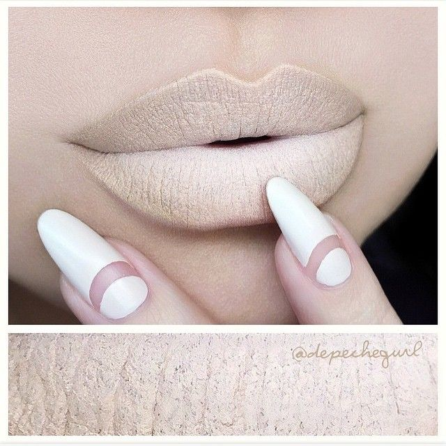 """LOVE @depechegurl lip mix  • Extreme Nude Matte • Lips - NARS Madere Matte Lipstick. Nyx Milk Jumbo Pencil and Medium & Dark Wonder Pencils. • Nails - """"Wrap Me Up"""" Nail Polish from the Essie 'Cashmere Matte' Collection. Nail tape for the negative space. #vegas_nay"""
