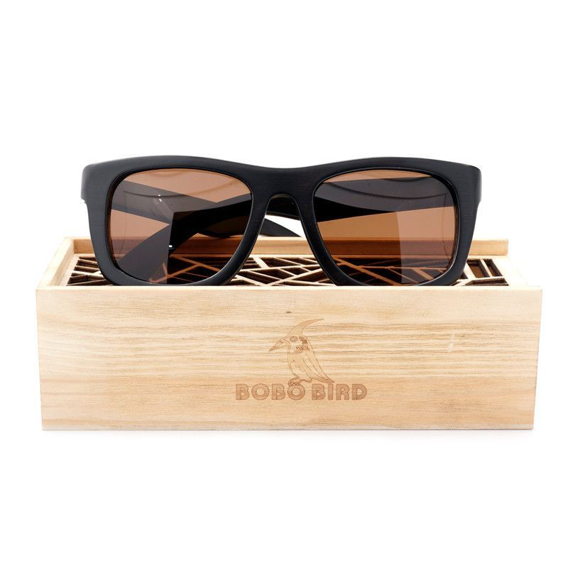 656bfd44ee Bobo Bird Luxury black wooden sunglasses brown polarized lenses ...
