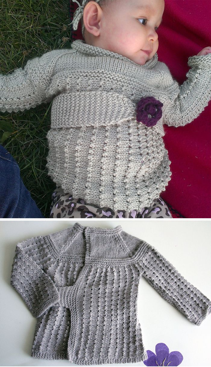 Free knitting pattern for nana agnes baby cardigan this wrap free knitting pattern for nana agnes baby cardigan this wrap sweater inspired by a vintage pattern has an attached belt and the wrap opening can be worn bankloansurffo Gallery