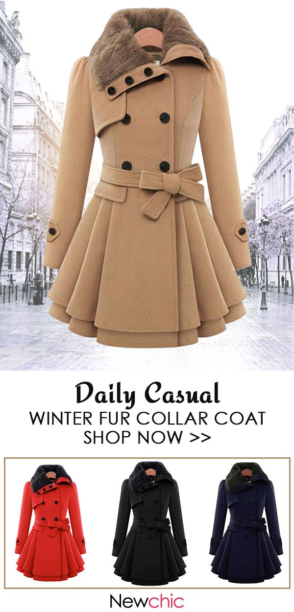 cheaper new lifestyle stylish design Double-breasted Padded Waistband Fur Collar Coat | NC ...
