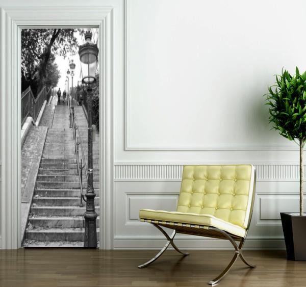 Autocollants Porte 3D Moderne Art St/ér/éo abstrait gris noir 95x215cm Auto-adh/ésif Poster Porte PVC Sticker Porte Autocollant Trompe l/œil Papier Peint pour Porte Cuisine Salon Chambre Salle de Bain W