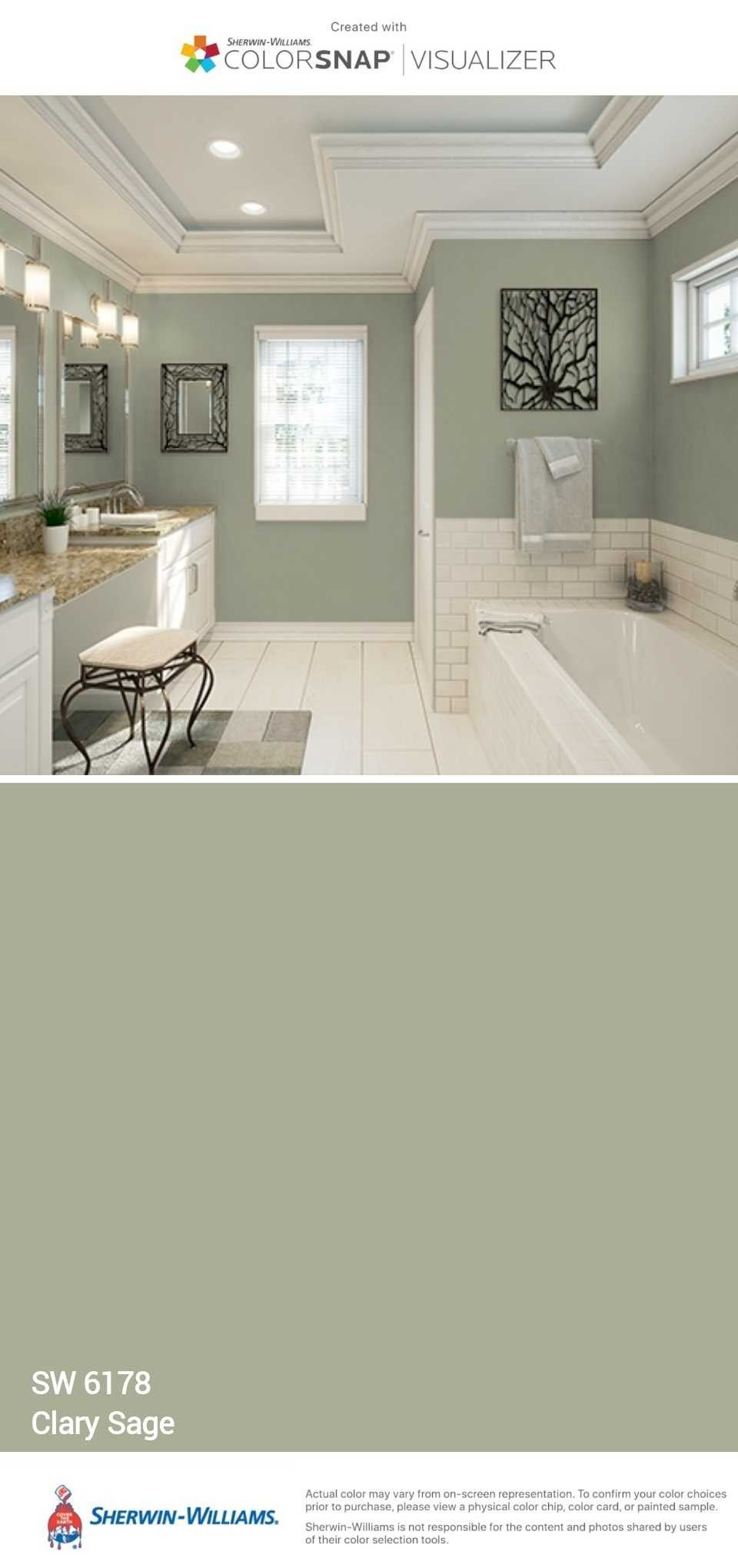 Clary Sage This Is Pretty Much The Exact Color In My Master Bathroom Looks Darker On My Walls Tho Small Bathroom Colors Paint Colors For Home Home Remodeling
