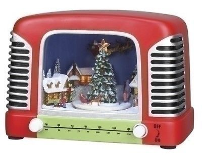 Figurines 117413 Vintage Radio With Winter Scene Light Up Animated