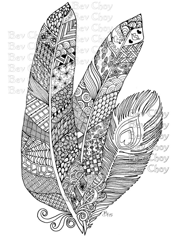 Adult Coloring Page Three Feathers From Book 2 By Bevchoyart On