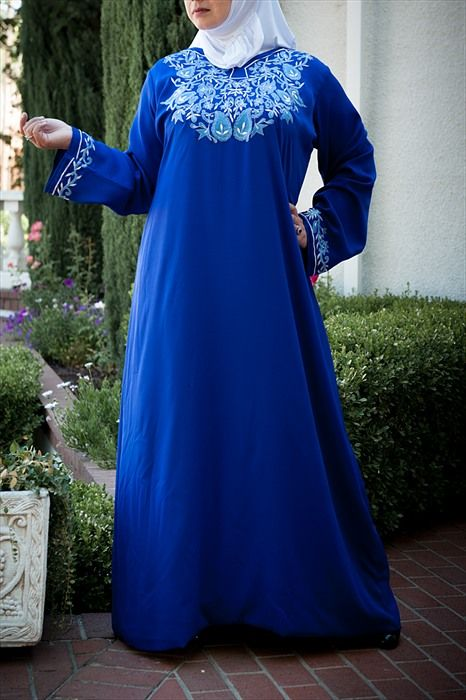 cd0ab47e786 Royal Blue Long Dress with Embroidery -  37.09   Plus Size Muslimah    Plus  Size…