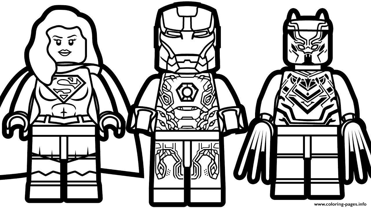 Print Lego Iron Man Supergirl Black Panther Coloring Pages Lego