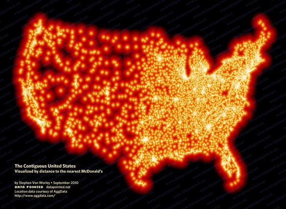 The Contiguous United States Visualised by distance to the nearest McDonald's. aggdata.com