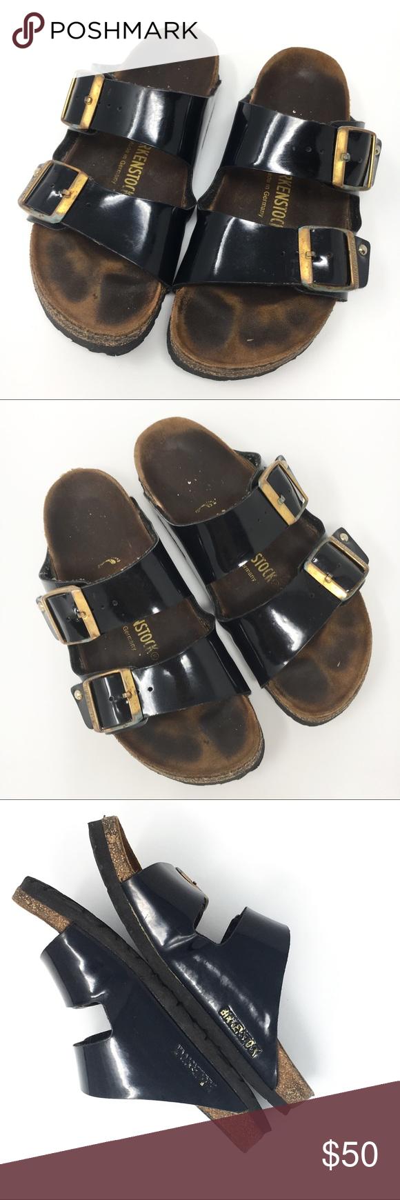 0dd5d95a9419 Birkenstock Arizona black patent two straps 37 Black patent Birkenstock  sandals
