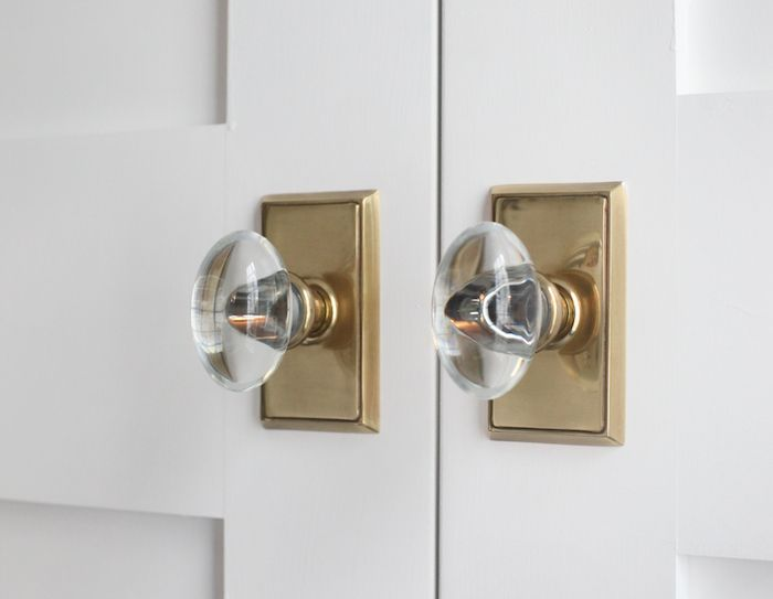 Chic kitchen pantry doors are painted white Sherwin Williams Extra White adorned with brass and glass door knobs Emtek H&ton Crystal Dummy Knobset with ... & Elements of Style Blog | Master Suite and Addition Final Reveal ... Pezcame.Com