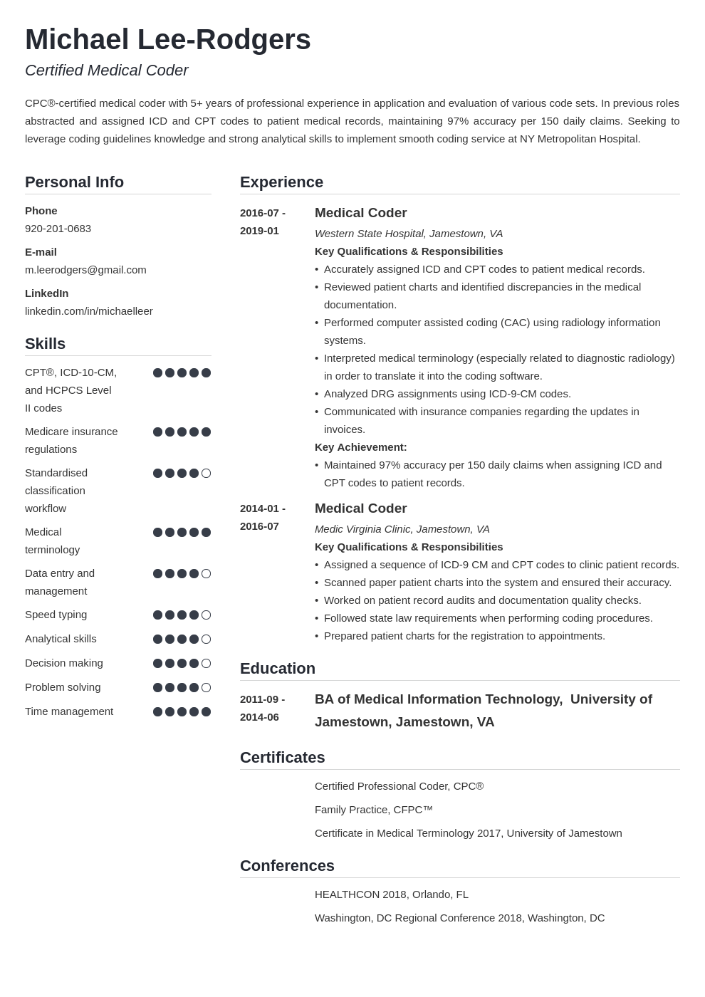 medical coder resume example template simple in 2020