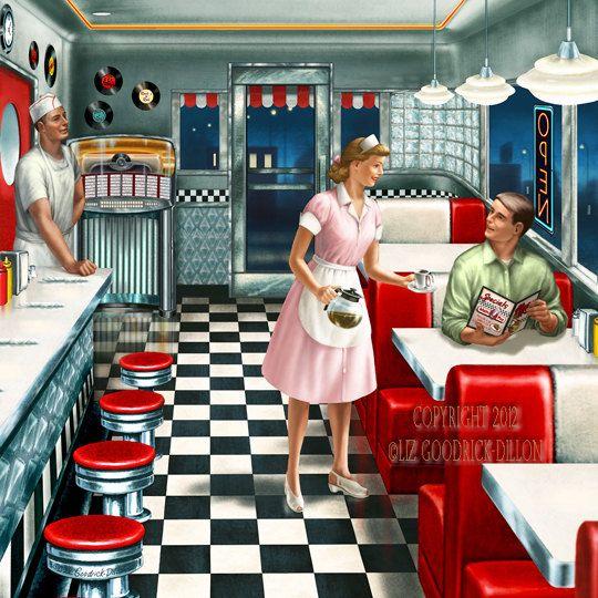 Lgd241b 50 S Diner 12 X12 Print By Lgd1studios On Etsy 25 00 Vintage Diner 50s Diner Diner Decor