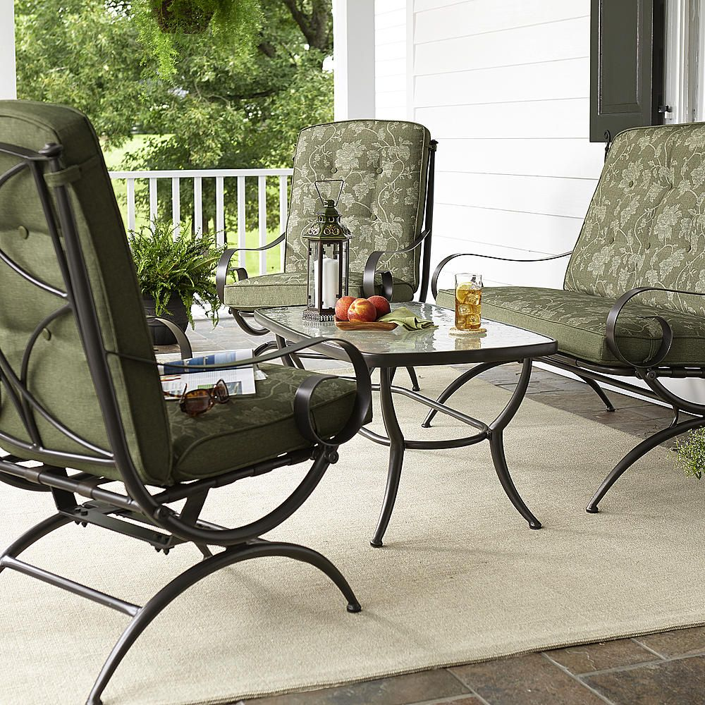 Jaclyn Smith Cora 4 Piece Seating Set Green Outdoor Living