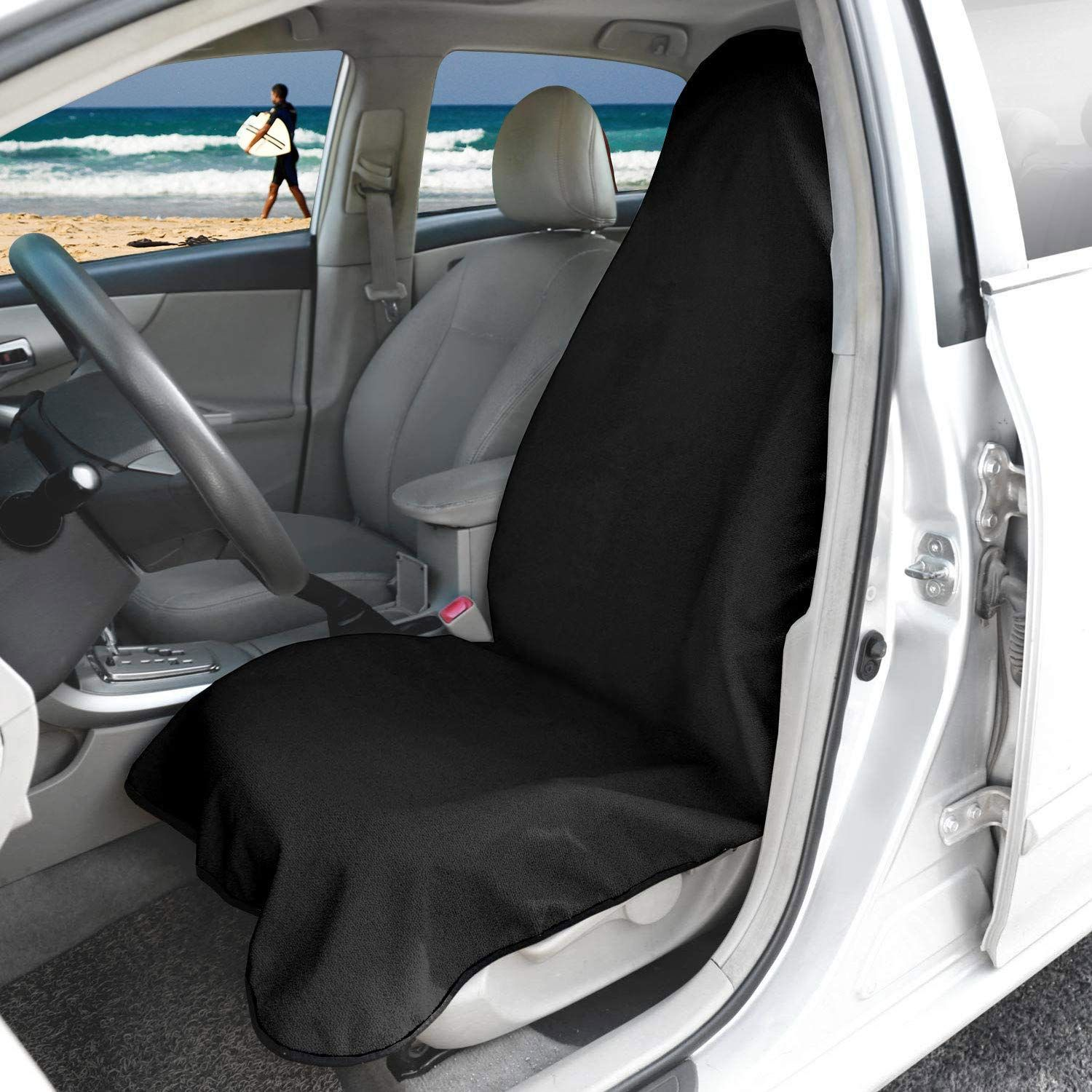 Hiveseen Universal Waterproof Car Front Seat Cover Made of Durable Sweat Towel,
