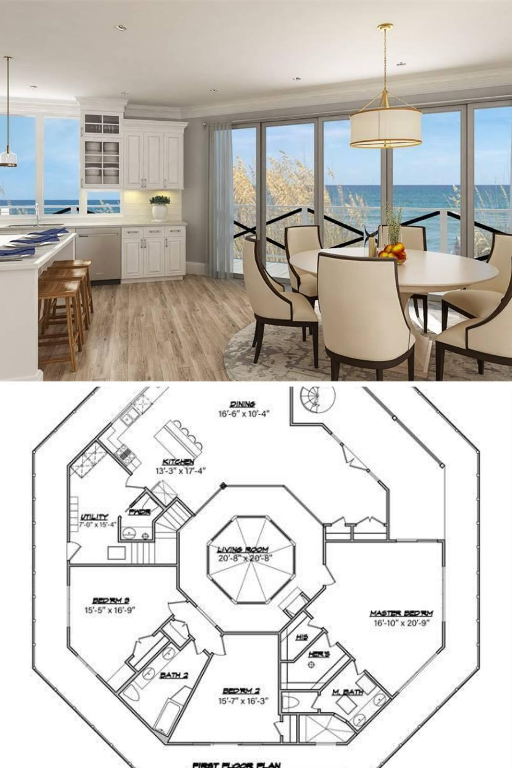 3 Bedroom 2 Story Modern Octagon House Plan with Full Wrap Around Porch Floor Plan