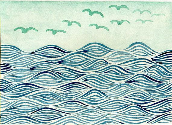Aceo Original Watercolor Painting Hand Painted Art Card Sea Waves And Birds Hand Painting Art Original Watercolor Painting Watercolor Paintings