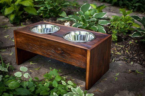 Reclaimed Barnboard Dog Feeding Station. Made by LumberJakeCanada