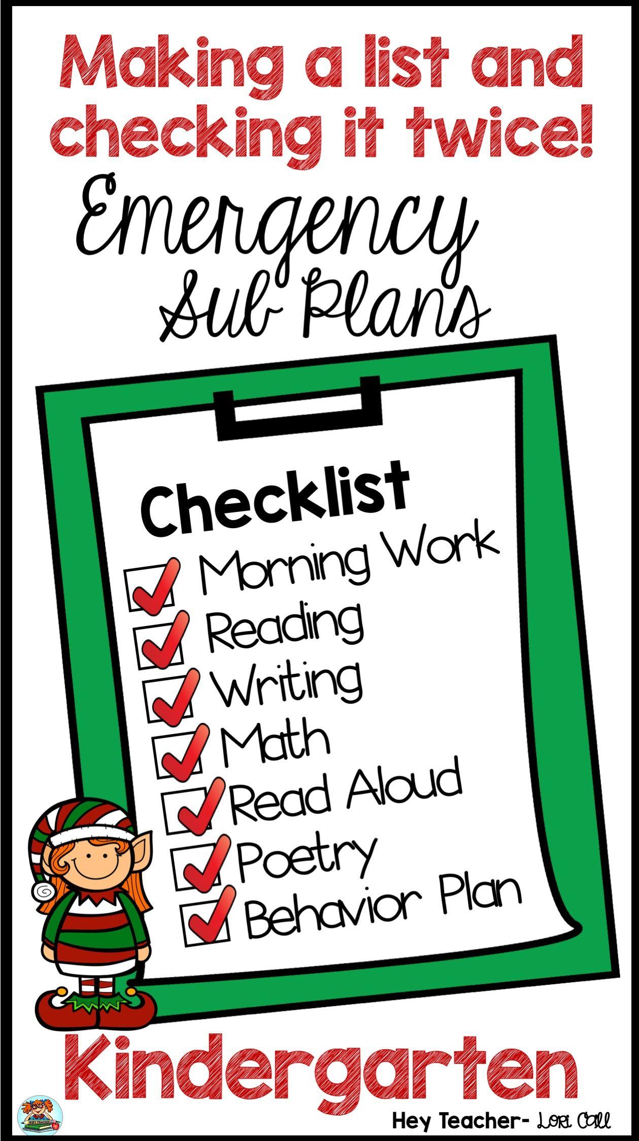Kindergarten Sub Plans December Holiday
