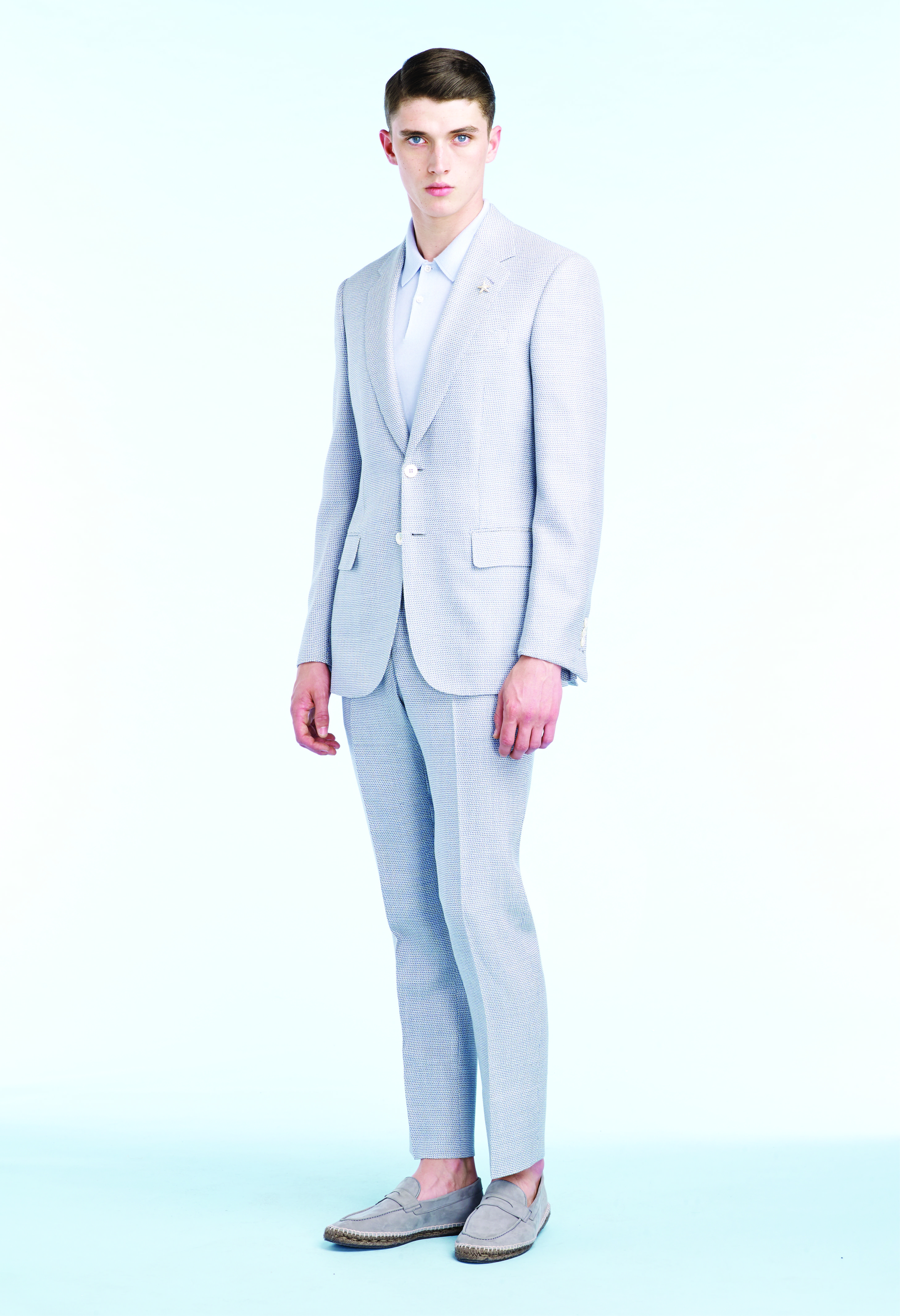 5a44c22595 Pale blue lightweight wool/silk two piece suit, Off white cotton polo shirt  and Pale grey suede driving shoes