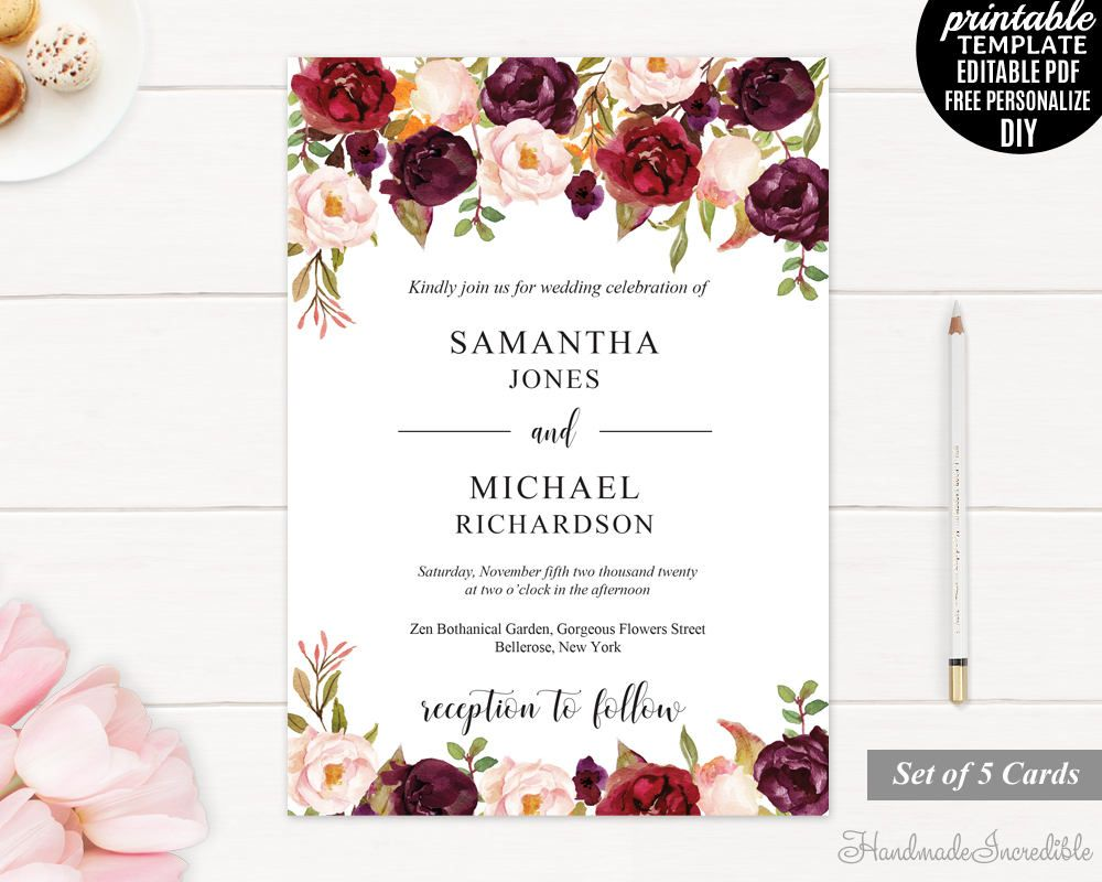 Marsala Wedding Invitation. Printable Wedding Invitation. Wedding
