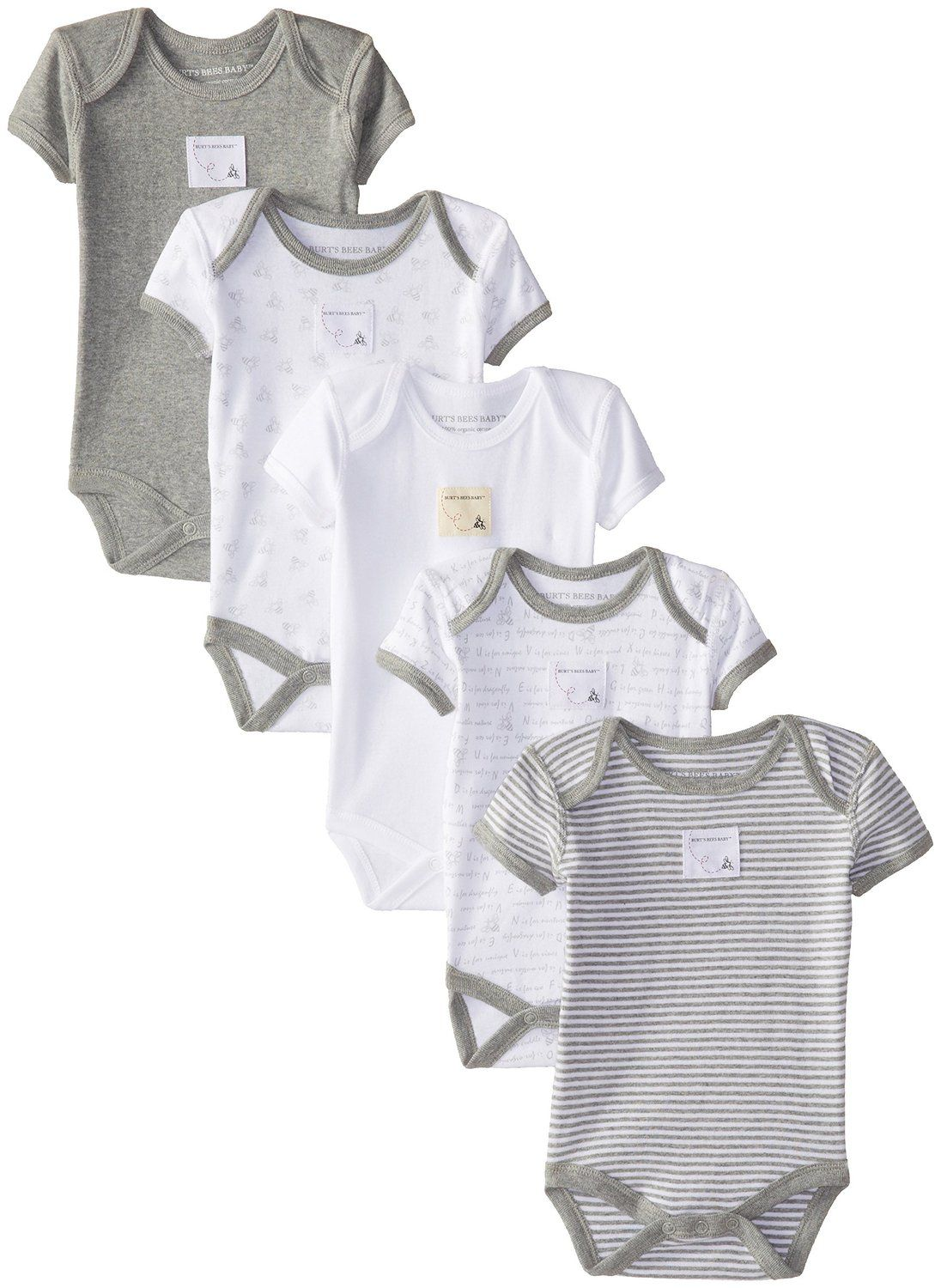Burts Bees Baby Clothes Adorable Burt's Bees Unibaby Organic Set Of 5 Short Sleeve Bodysuits Review