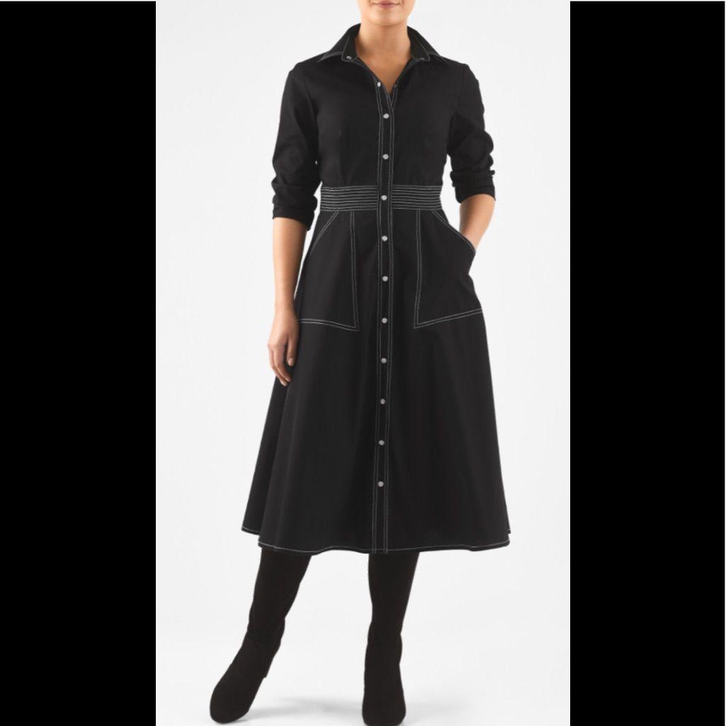 New Eshakti Black Fit & Flare Shirt Dress L 14