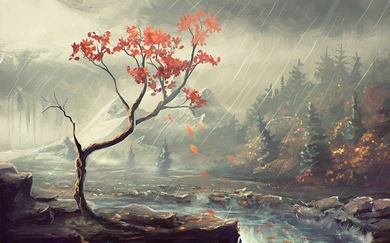 Forest Landscape Painting Wallpaper